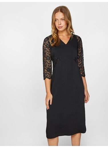 Faik Sönmez  Dantel Detaylı Abiye Elbise 60102 Siyah